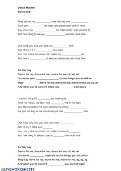 Interactive worksheet Song (Dance Monkey - Tones and I)