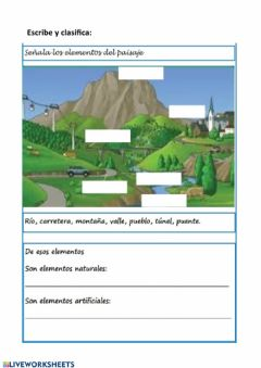 Interactive worksheet Paisaje:elementos naturales y artificiales
