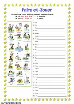 Interactive worksheet Faire et Jouer