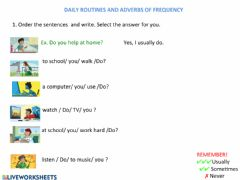 Interactive worksheet Daily routines and frequency adverbs