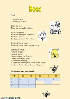 Interactive worksheet Bees