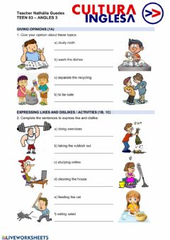 Interactive worksheet Teen 3 - Unit 1