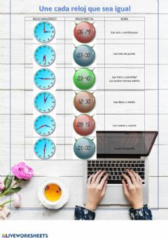 Interactive worksheet Relojes