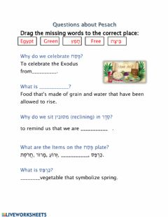 Interactive worksheet Questions about Pesach