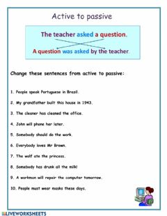 Interactive worksheet Active to passive