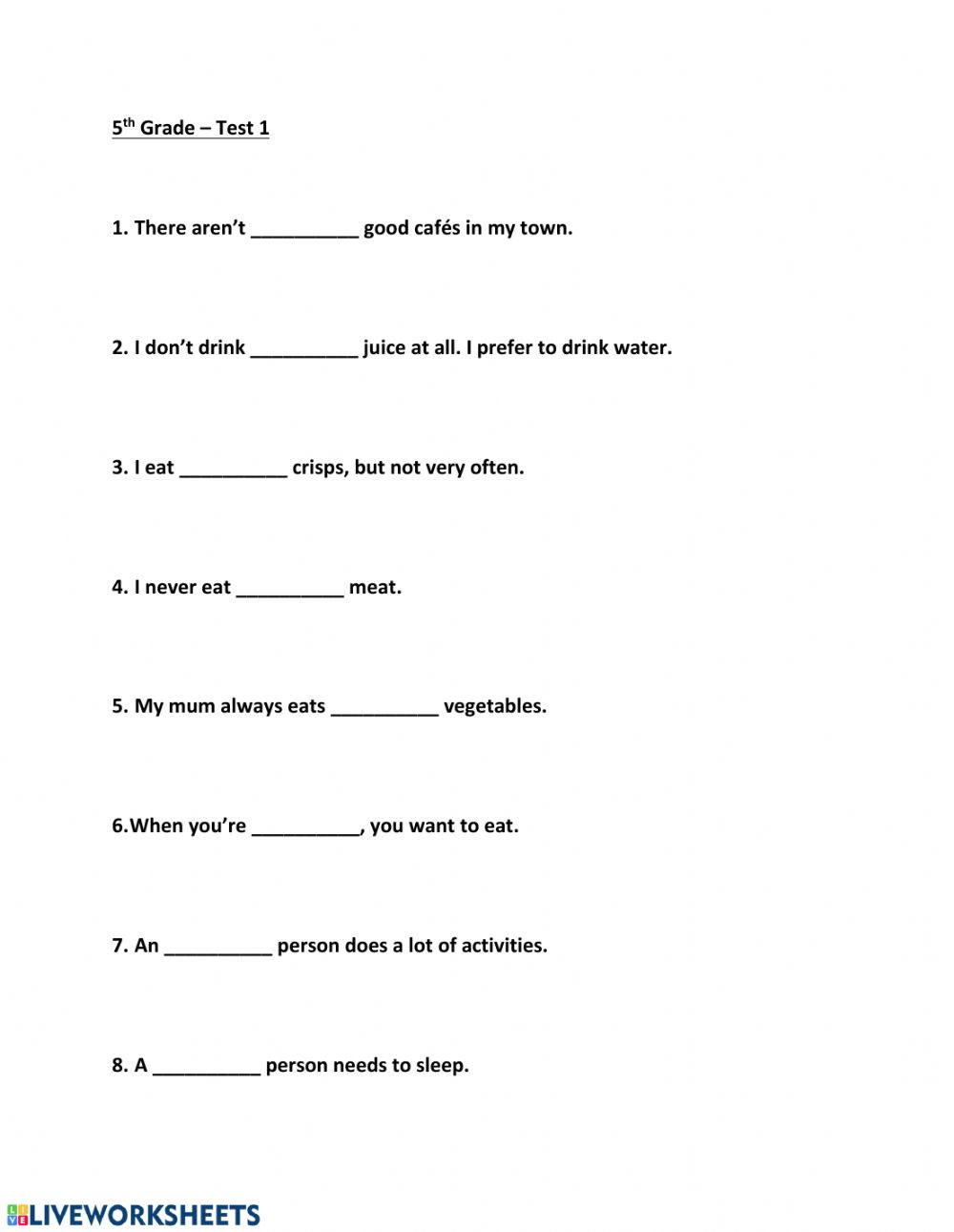 5th Grade Test 1 Worksheet