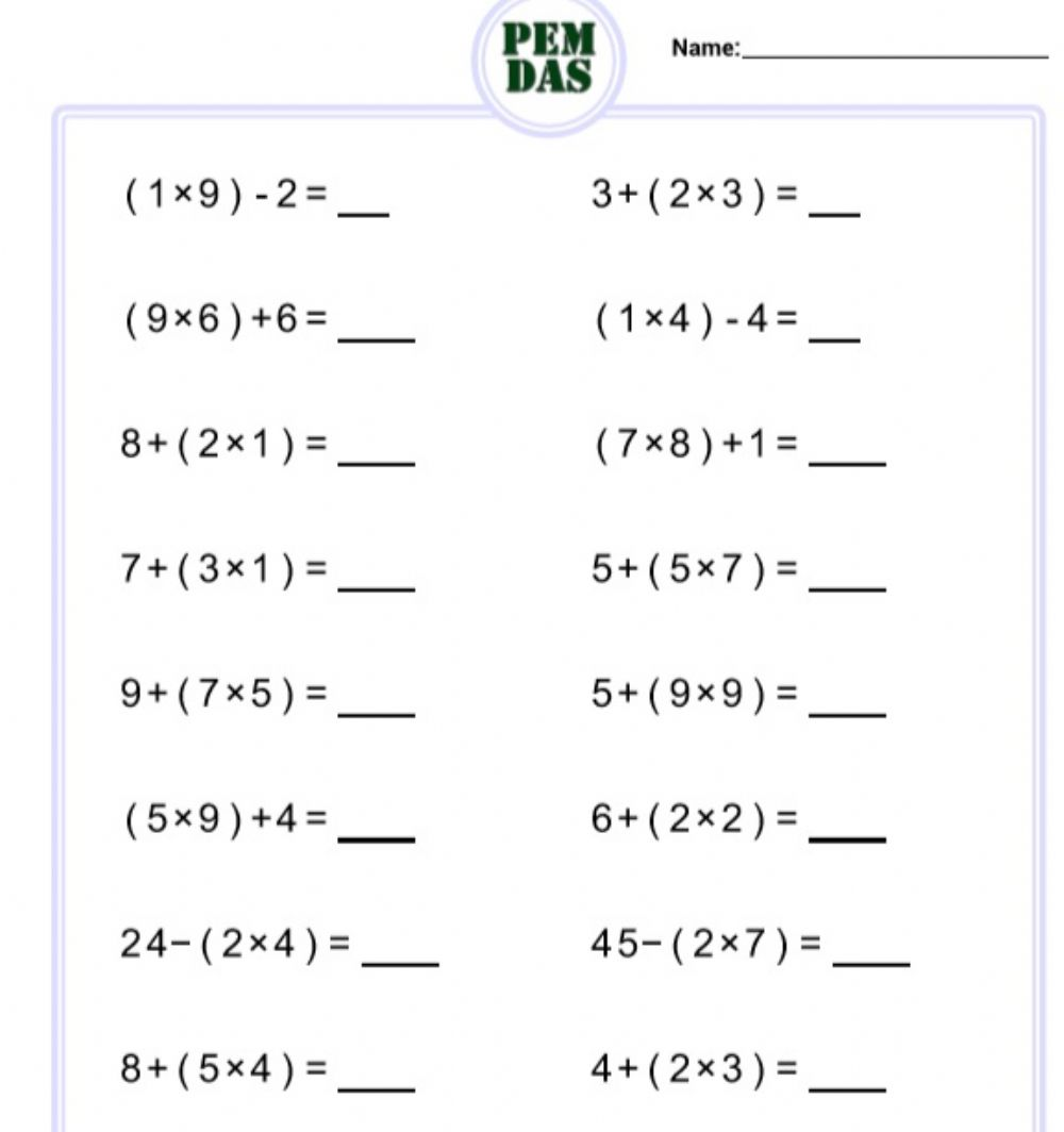 Order of Operations (MDAS with parentheses) worksheet