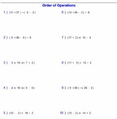 Interactive worksheet Order of Operations 2 (MDAS with parentheses)