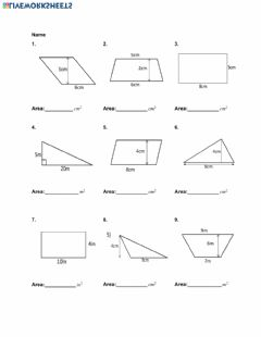 Interactive worksheet Area of Quadrilaterals and Triangles