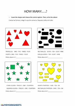 Interactive worksheet Shapes, colours and numbers
