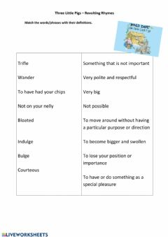 Interactive worksheet The Three Little Pigs - Revolting Rhymes