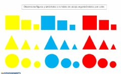 Interactive worksheet Clasificación de figuras por color