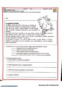 Interactive worksheet La gallina zaida