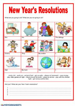 Interactive worksheet New year resolutions