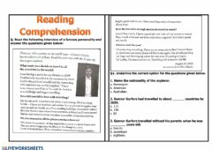 Interactive worksheet Reading Comprehension