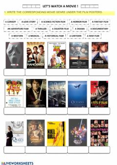 Ficha interactiva Let's watch a movie: movie genres