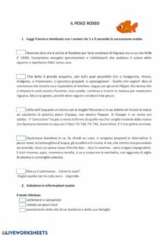 Interactive worksheet Il pesce rosso