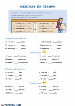 Interactive worksheet Medidas de tiempo