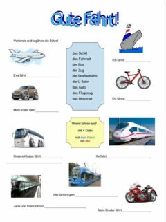 Interactive worksheet Meine Deutschtour Transport