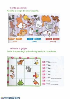 Interactive worksheet Animals & numbers