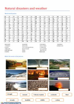 Interactive worksheet Natural disasters and weather