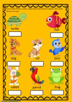 Interactive worksheet Pets listen, learn and write