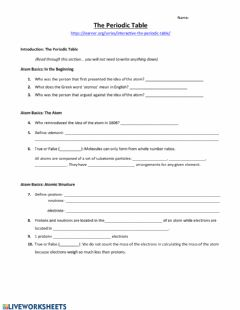 Interactive worksheet The Periodic Table