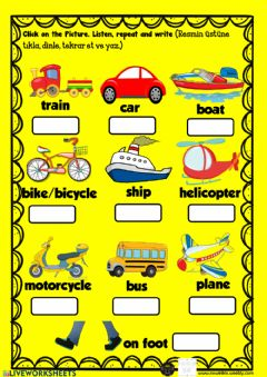 Interactive worksheet Transportation listen learn and write