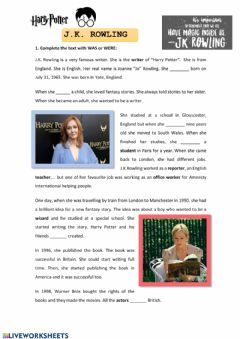 Interactive worksheet J.K ROWLING