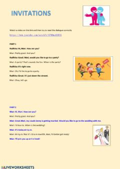 Interactive worksheet Invitations