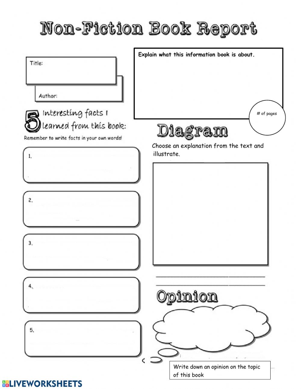 - Template For Reading Comprehension - Interactive Worksheet