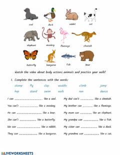 Interactive worksheet Body Actions and Animals