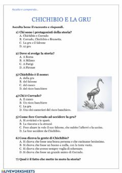 Interactive worksheet Chichibio e la gru