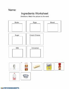 Interactive worksheet Ingredients