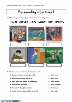Interactive worksheet Personality Adjectives 1