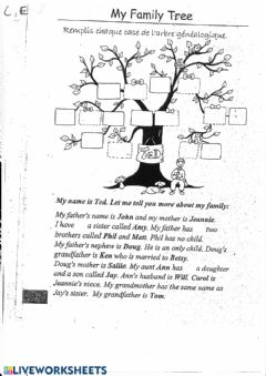 Interactive worksheet Ted's family tree