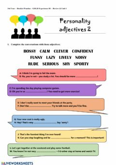 Interactive worksheet Personality Adjectives 2