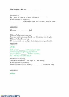 Interactive worksheet We Can work it out - Beatles