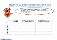 Interactive worksheet Lento-Rapido-Fuerte-Piano