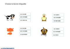 Interactive worksheet Les animaux