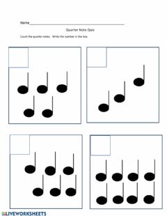 Interactive worksheet Music and Math Quarter Notes