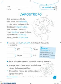 Interactive worksheet Esercizi apostrofo