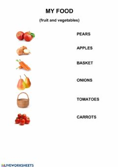 Interactive worksheet My food (fruit and vegetables), 1st grade, Smiles