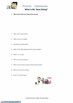 Interactive worksheet Mr. Bean Present continuous