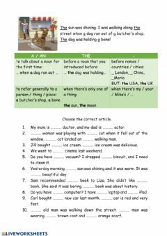 Interactive worksheet Definite and Indefinite Articles