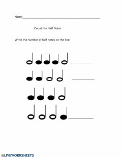 Interactive worksheet Counting Half Notes and Quarter Notes