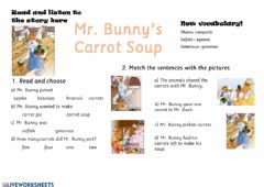 Interactive worksheet Mr bunny's carrot soup