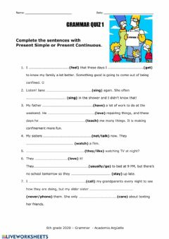 Interactive worksheet Simple Present and Present Continuous