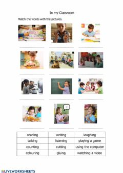 Interactive worksheet Verbs in the Classroom