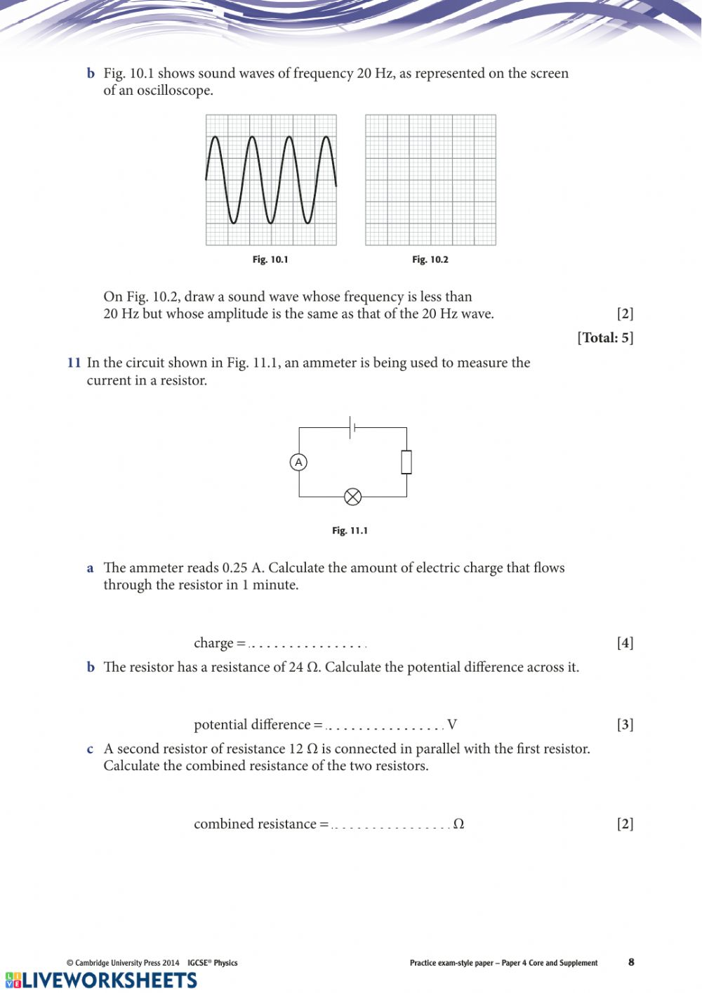 IGCSE Physics Paper 4 Revision - Interactive worksheet
